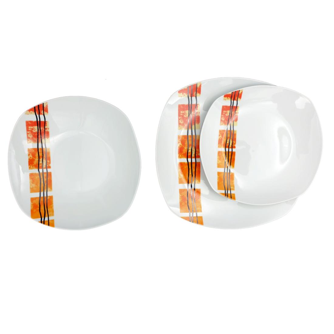 Homefavour szögletes narancs 18 részes porcelán étkészlet