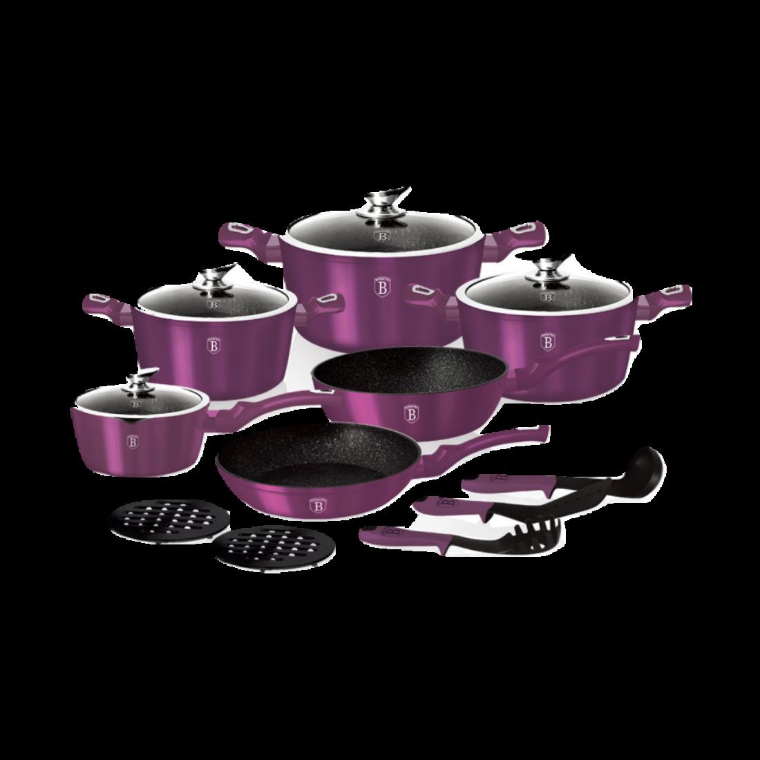 Berlinger Haus 15 részes edénykészlet, Metallic Line Royal Purple Edition