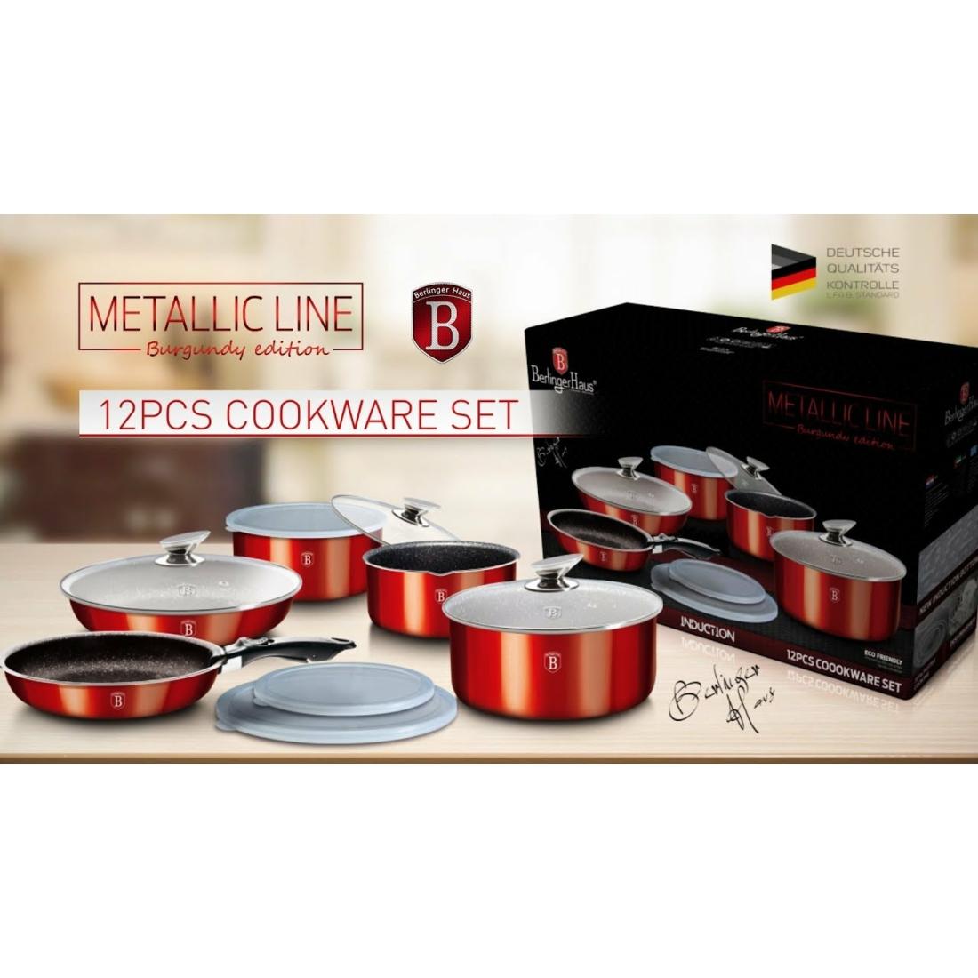 Berlinger Haus Metallic Burgundy Line 12 részes edénykészlet márvány bevonattal, metál külső bevonattal