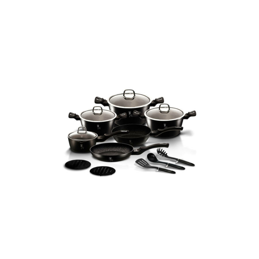 Berlinger Haus Black Silver Collection 15 részes edénykészlet márvány bevonattal, metál külső bevonattal, fekete