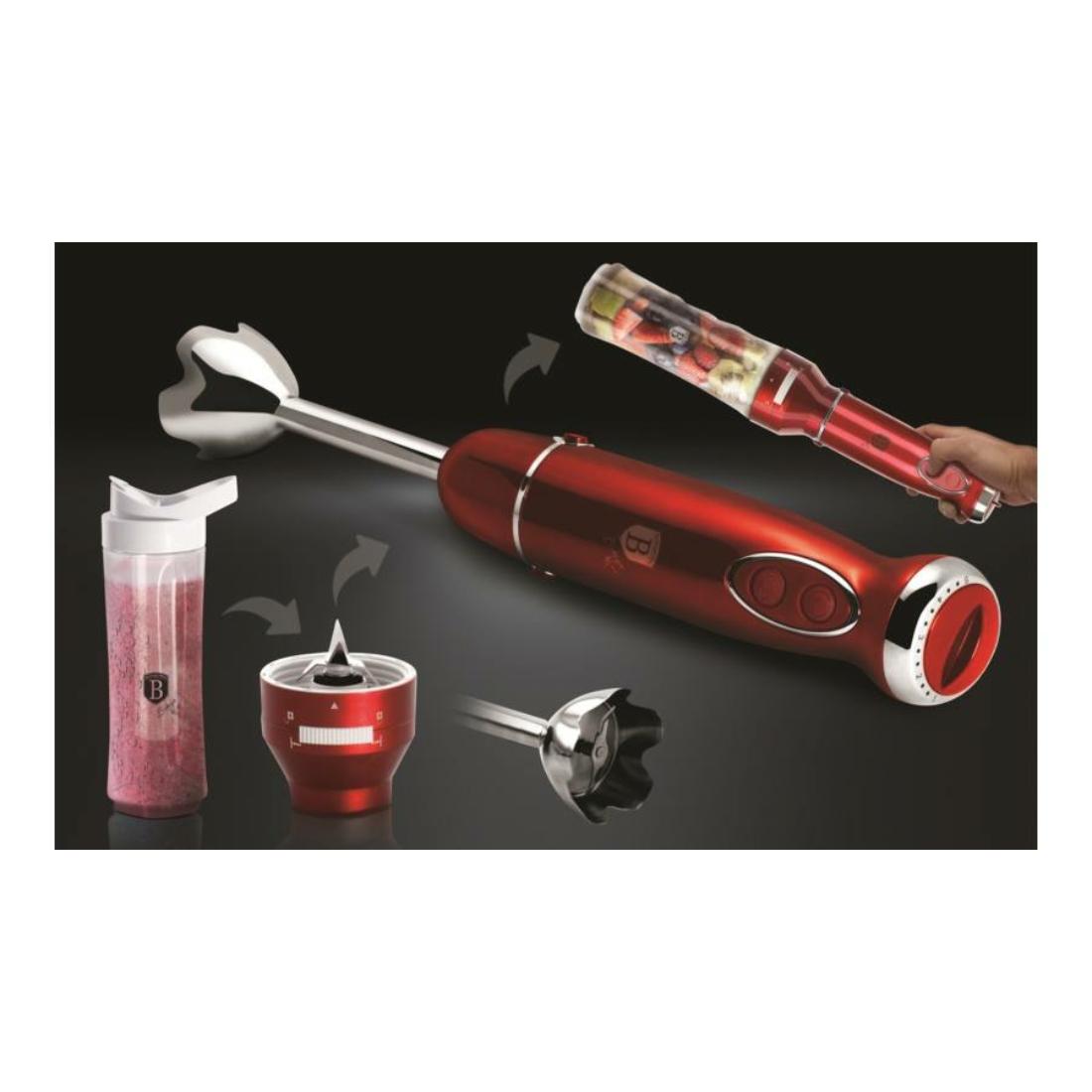 Berlinger Haus Botmixer készlet műanyag hordozható ivópalackkal, 600 W, burgundy