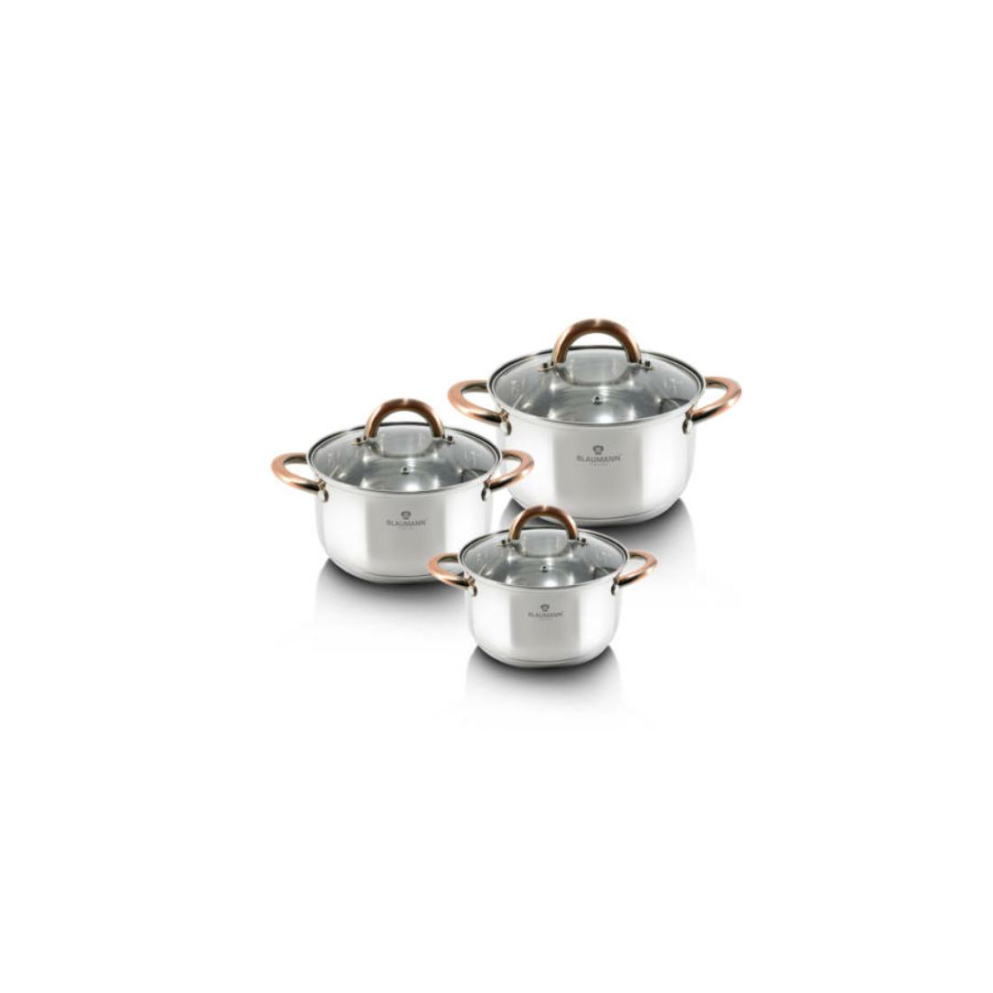 Blaumann Gourmet Line 6 részes rozsdamentes acél edénykészlet réz színű fogókkal
