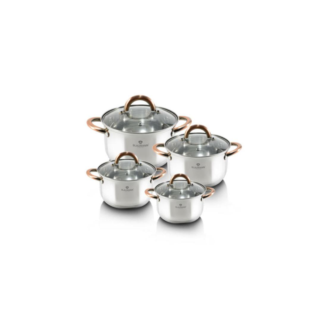 Blaumann Gourmet Line 8 részes rozsdamentes acél edénykészlet réz színű fogókkal
