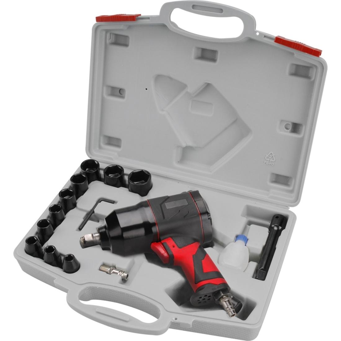 """Extol Premium légkulcs készlet., 15 db, 1/2"""", dugófejek (10 db: 9-27mm), 340Nm, 7400 1/min, 113l/min, 6,3 Bar, 1/4"""" tömlőcsatlakozó, 1,9kg"""