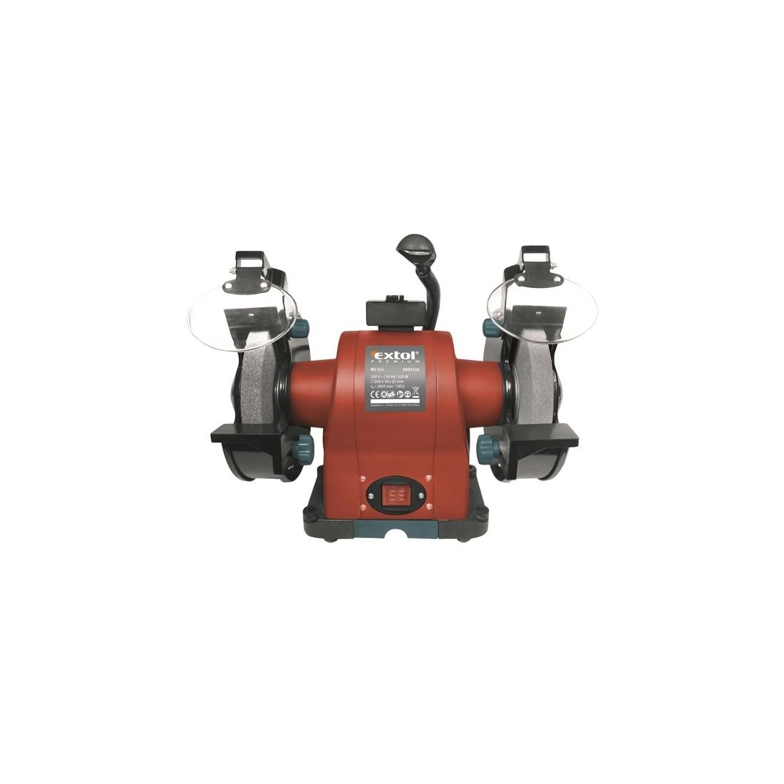 Extol Premium kettős köszörűgép 520W, száraz, 200×16×25mm, (P36, P80), 2950 ford/perc, 19kg, lámpával