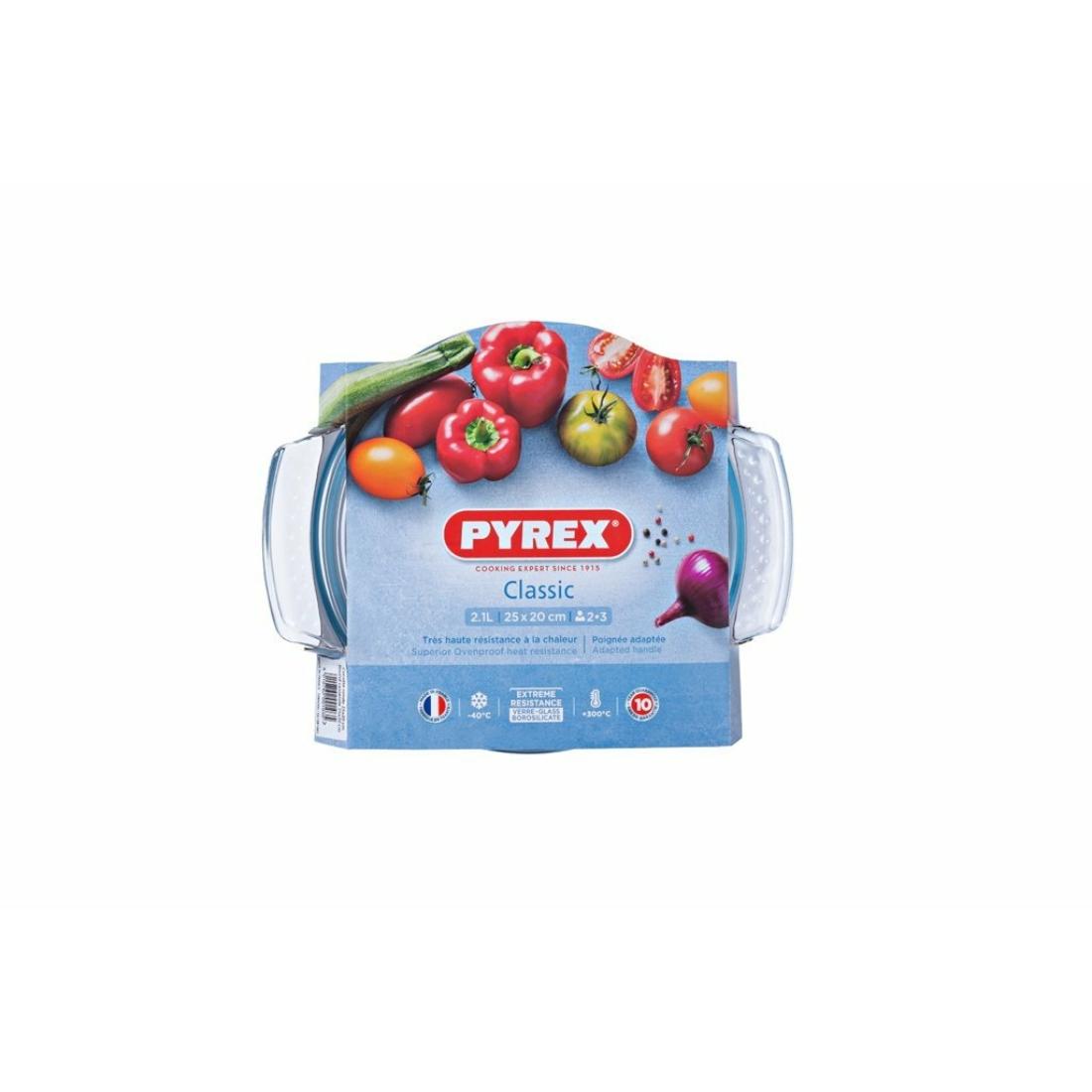 Pyrex Classic Kerek sütőtál fedővel 25 cm