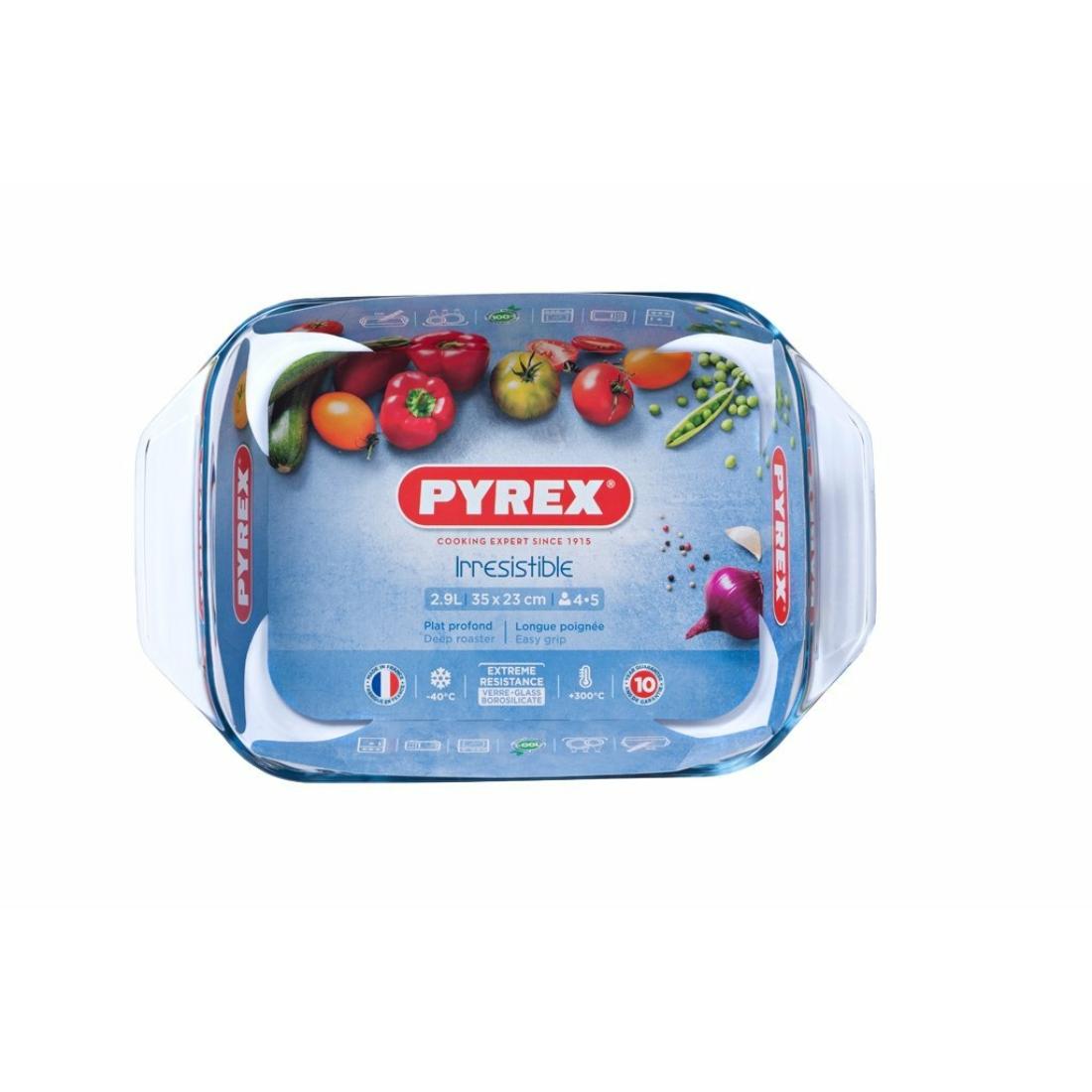 Pyrex Irrestistible Szögletes sütőtál füllel - tepsi  35cm