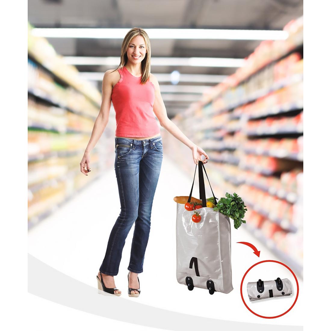 Összecsukható gurulós bevásárlótáska - szürke