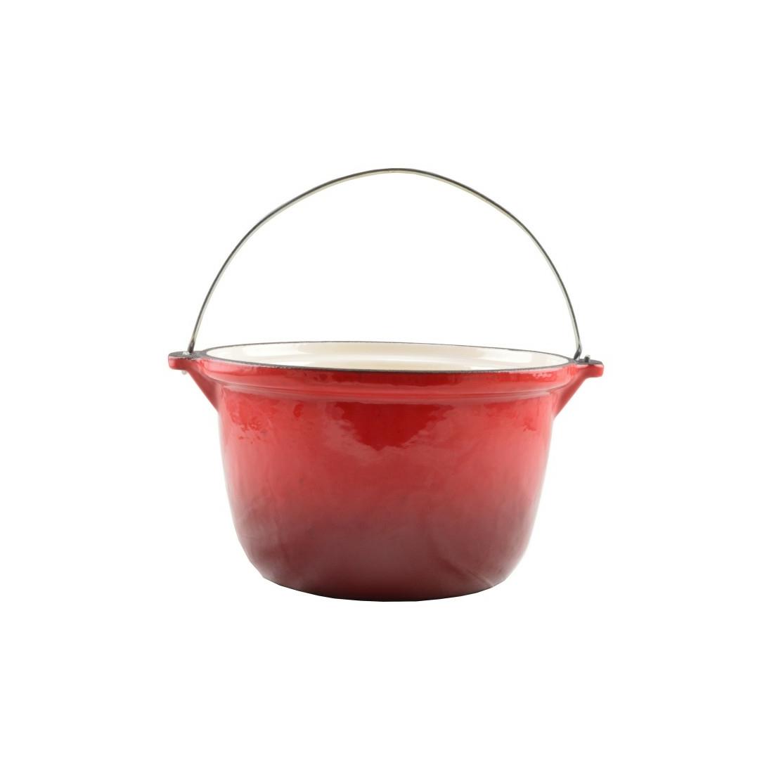 Zománcozott öntöttvas bogrács 4 literes piros