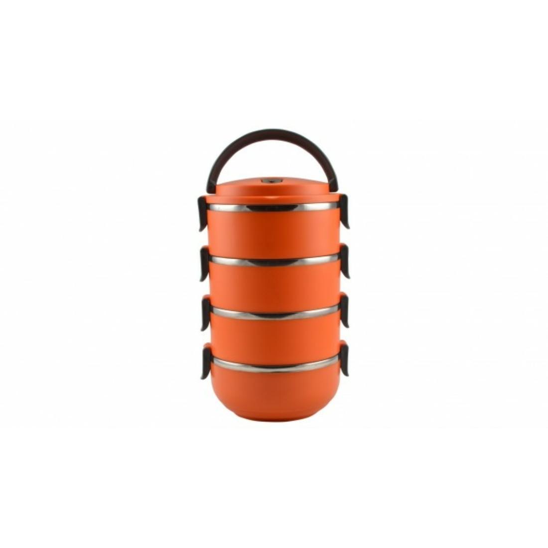 Ételhordó rozsdamentes 4 részes színes Narancssárga