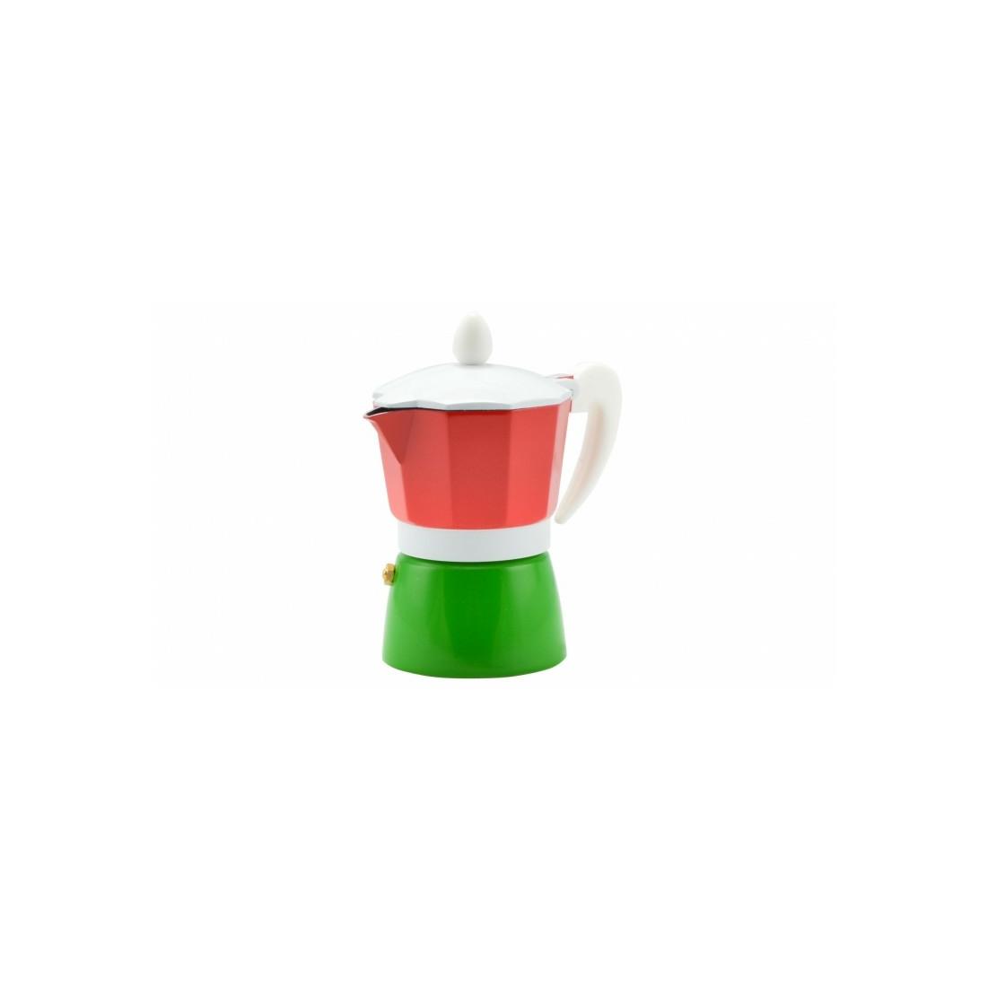 Kávéfőző alumínium 3 személyes piros-zöld