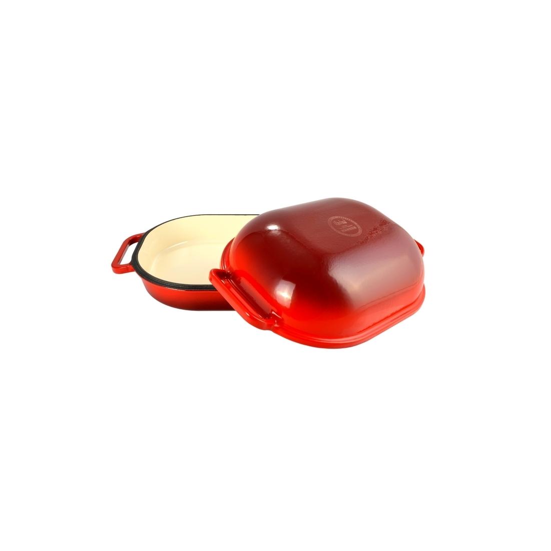 Zománcozott öntöttvas kacsasütő kúpos piros