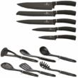 Berlinger Haus Royal Black Collection 12 részes konyhai készlet késekkel és kiszedőkkel, fekete/ezüst