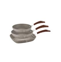 Berlinger Haus Stone Touch Line 3 részes serpenyőkészlet kő hatású márvány bevonattal, szilikon fogóval, bézs/barna