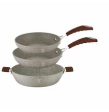 Berlinger Haus Stone Touch 3 részes edénykészlet kő hatású márvány bevonattal, szilikon fogókkal, bézs/barna