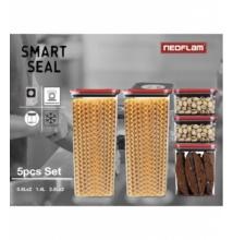 Neoflam Smart Seal tárolódobozok négyzet alakú 5 részes