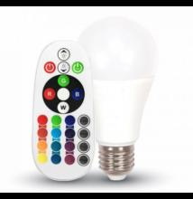 V-TAC led lámpa E27 9W A60 RGB+4000K infra távirányítóval