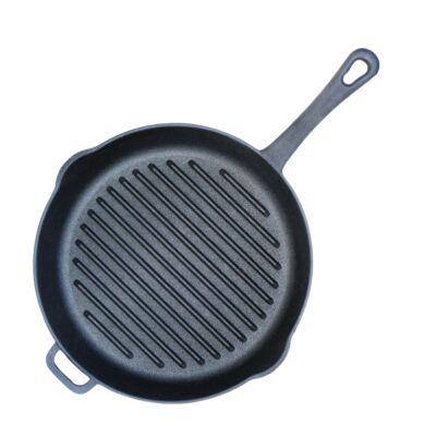 Serpenyő grill öntöttvas 28 cm vas nyéllel