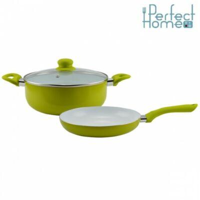 Lábas+serpenyő 3db-os kerámia bevonatos edénykészlet Zöld