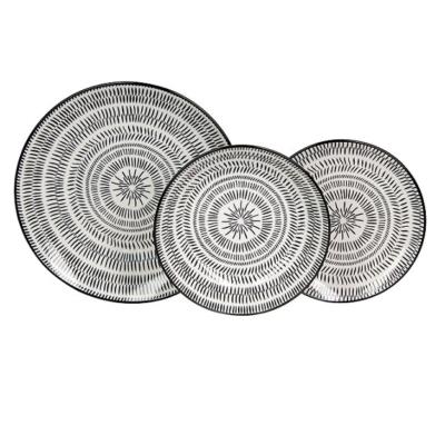 Pleiadi Fekete-Fehér 18 Részes Porcelán Étkészlet