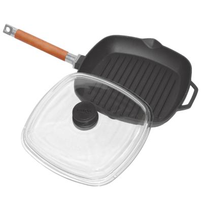 Serpenyő grill öntöttvas 26 x 26 cm levehető nyéllel és üveg fedővel