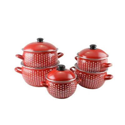 Zománc edénykészlet piros pöttyös 10 részes