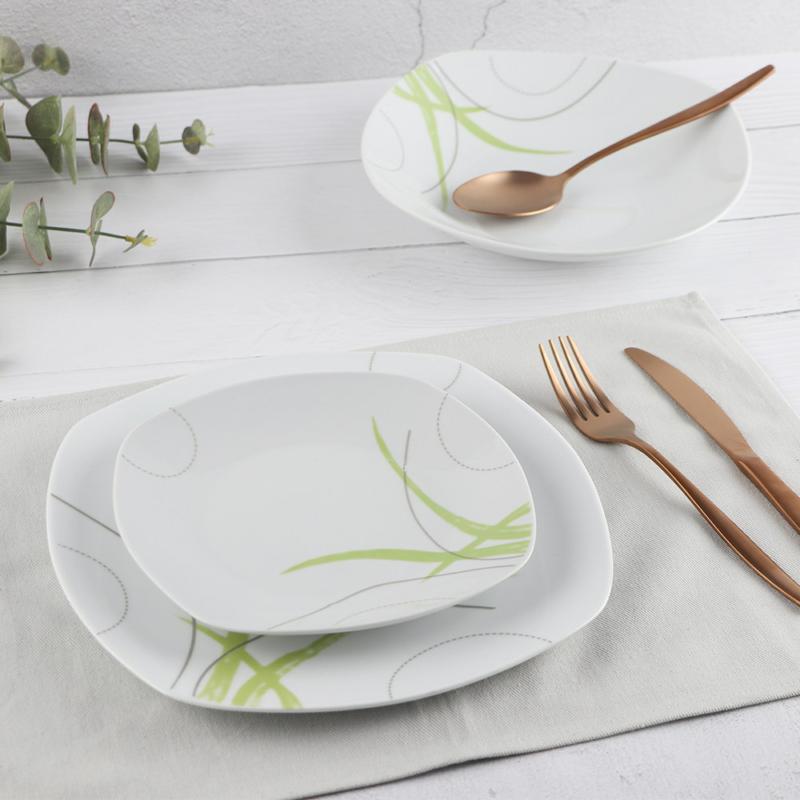 HomeFavour Green Line 18 részes porcelán étkészlet